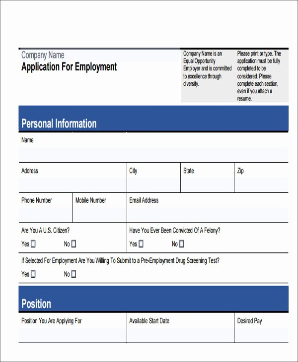 Generic Application for Employment form Elegant 49 Job Application form Templates