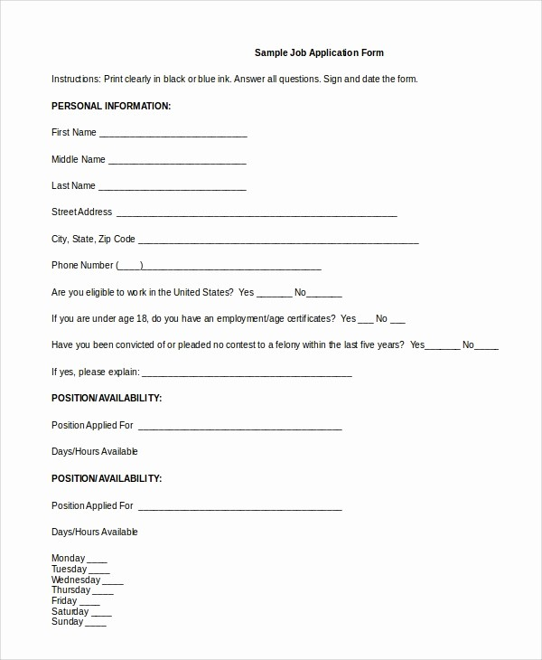 Generic Application for Employment form Elegant 8 Generic Job Application Samples