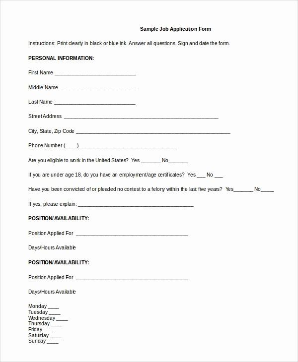 Generic Application for Employment form Elegant 8 Generic Job Application Samples