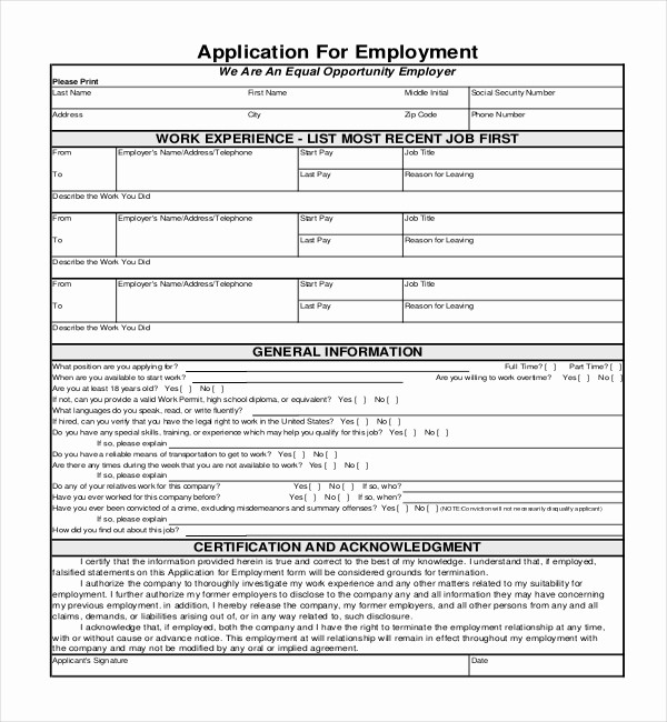 Generic Application for Employment form Elegant Sample Employment Application forms 12 Free Documents
