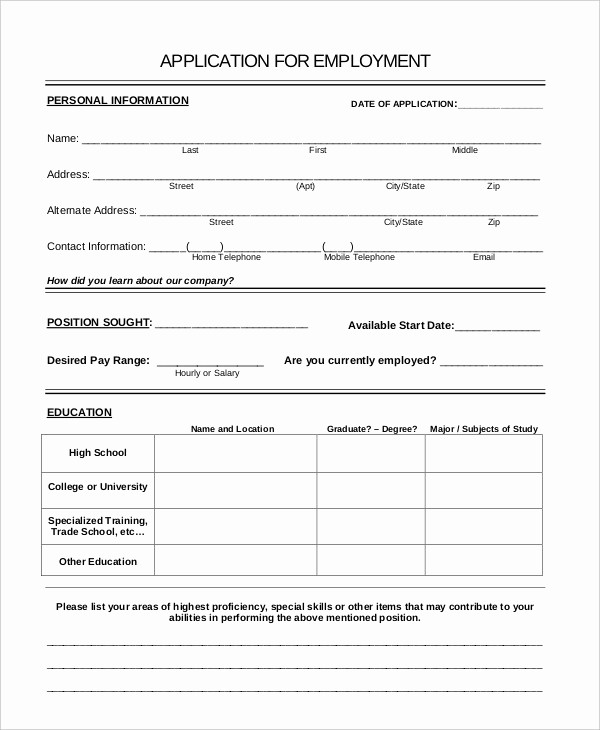 Generic Application for Employment form Fresh Generic Job Application 8 Free Word Pdf Documents