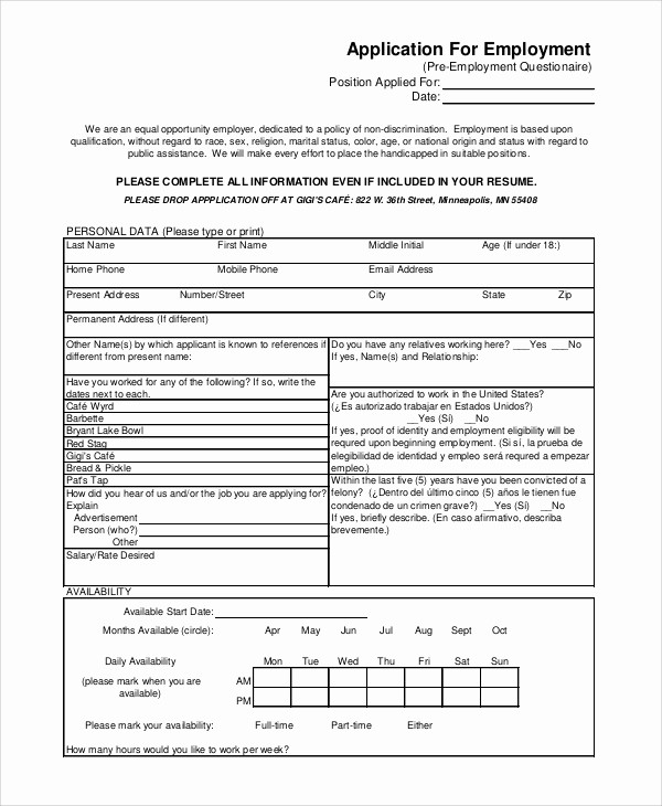 Generic Application for Employment form Inspirational 8 Generic Job Application Samples