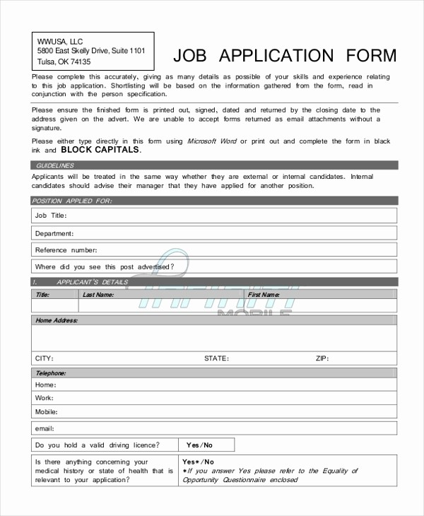 Generic Application for Employment form Inspirational Sample Generic Job Application form 9 Free Documents In