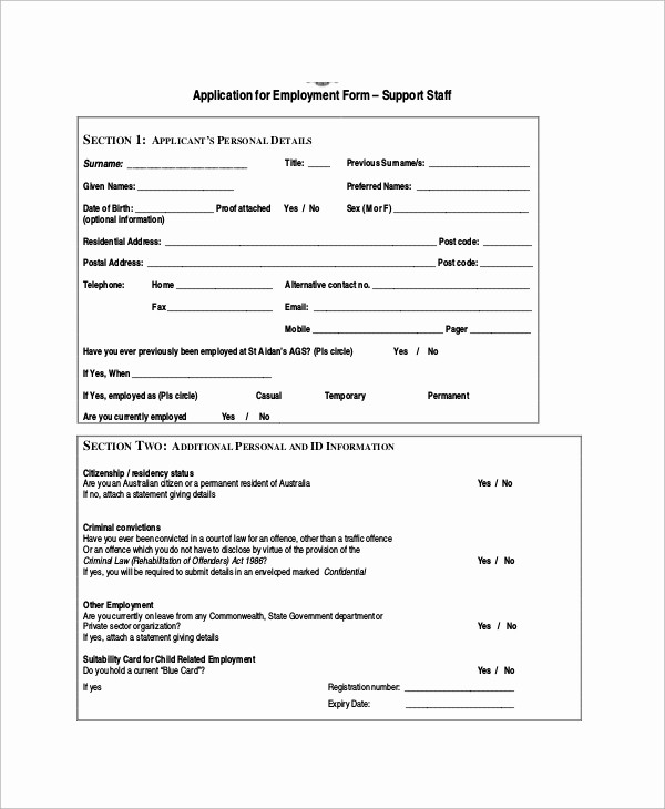 Generic Application for Employment form Lovely 11 Sample Employment Application forms