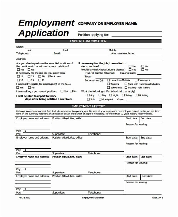Generic Application for Employment form Lovely 8 Employment Application Sample forms Free Example