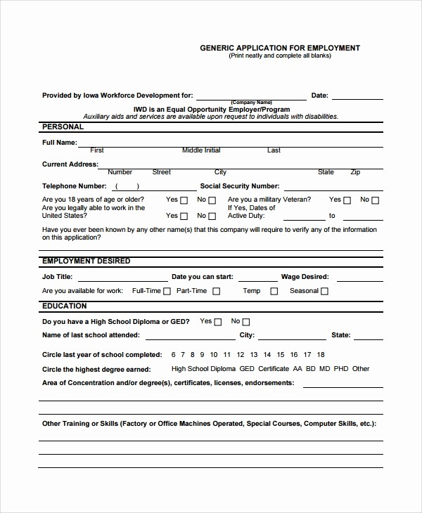 Generic Application for Employment form Luxury 8 Sample Job Application forms