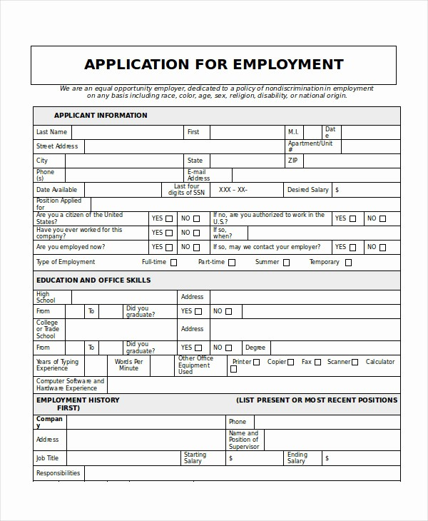 Generic Application for Employment form Luxury Generic Job Application 8 Free Word Pdf Documents