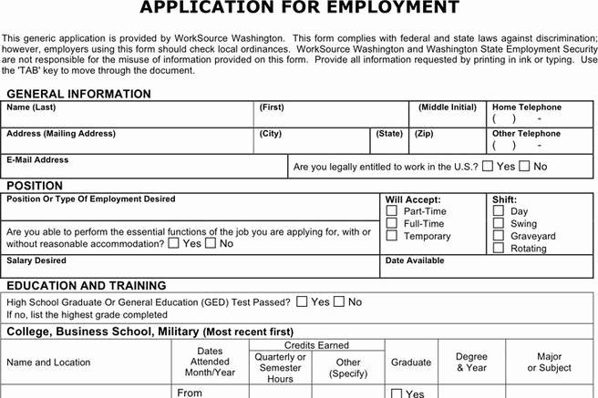 Generic Application for Employment form Unique 4 Generic Application for Employment Free Download
