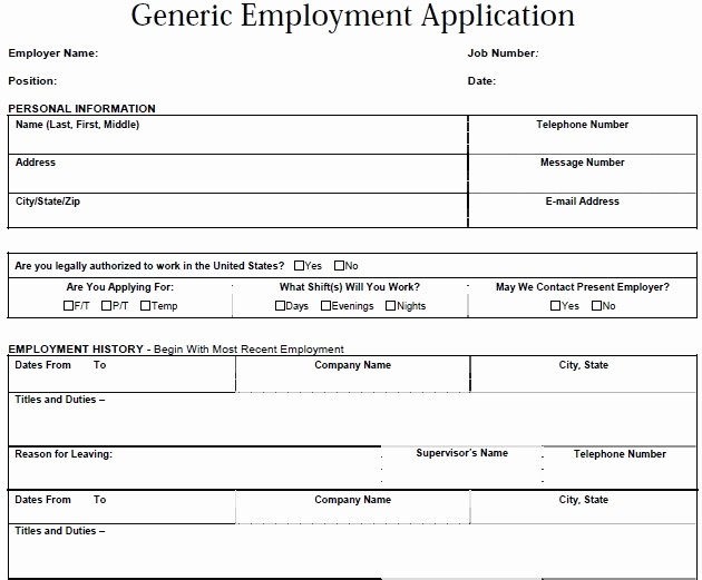 Generic Application for Employment form Unique Generic Employment Application