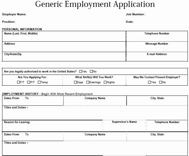 Generic Application for Employment form Unique Generic Employment Application