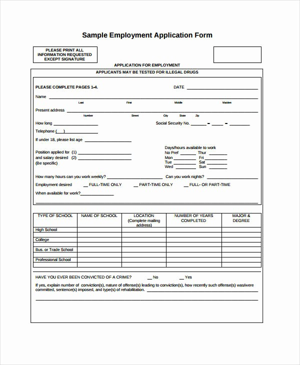 Generic Application for Employment Free Elegant Generic Employment Application Template 8 Free Pdf