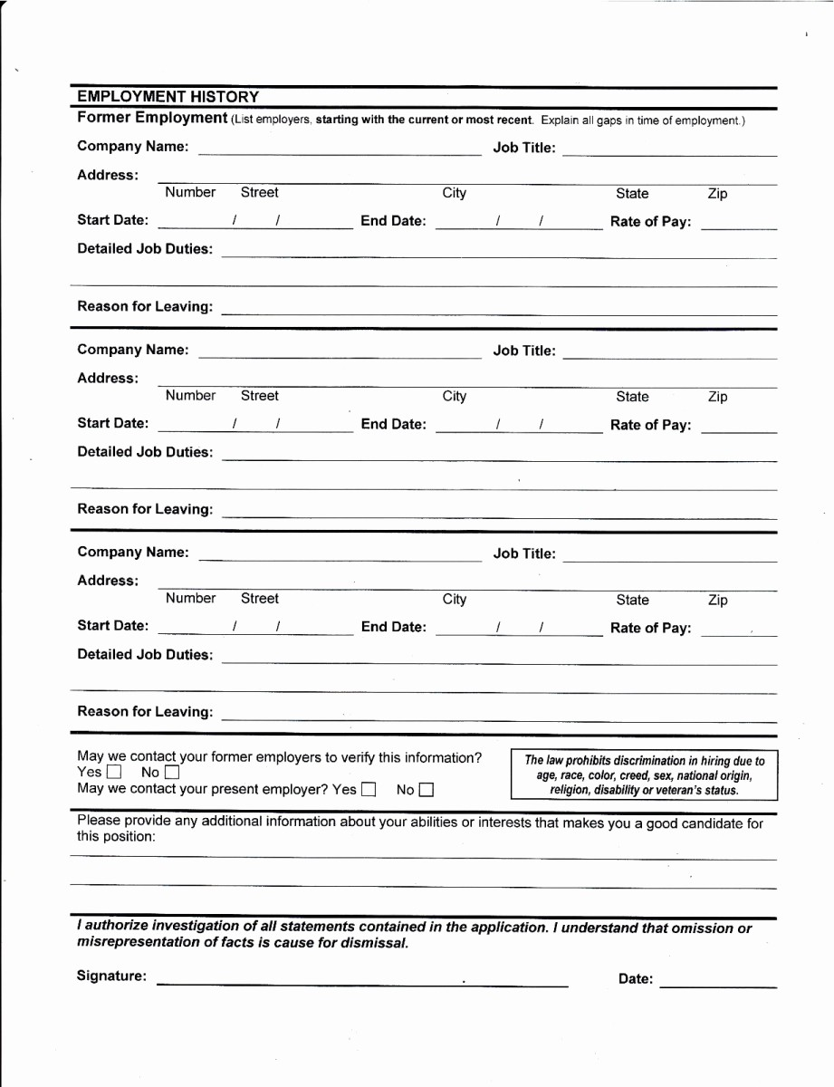 Generic Application for Employment Free Luxury Best S Of Printable Job Application for Employers