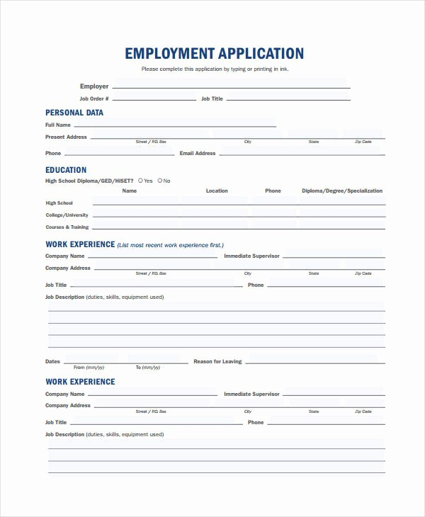 Generic Application for Employment Free New Generic Employment Application Template 8 Free Pdf