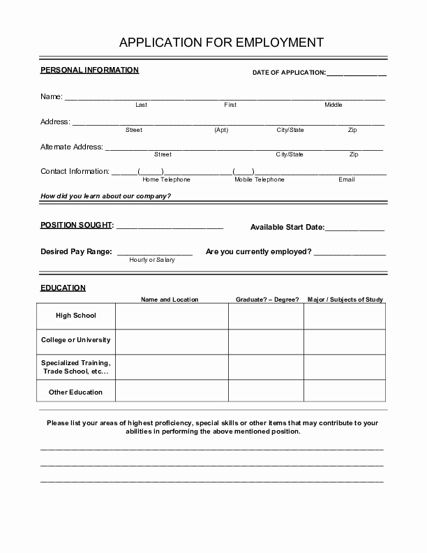 Generic Application for Employment Free Unique Blank Job Application form Samples Download Free forms