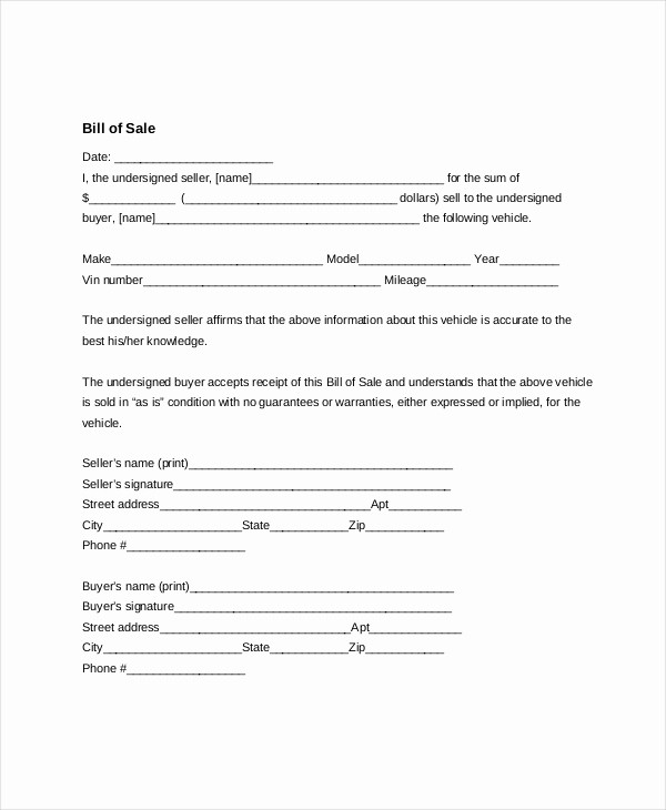 Generic Automotive Bill Of Sale Beautiful 7 Sample General Bill Of Sale forms