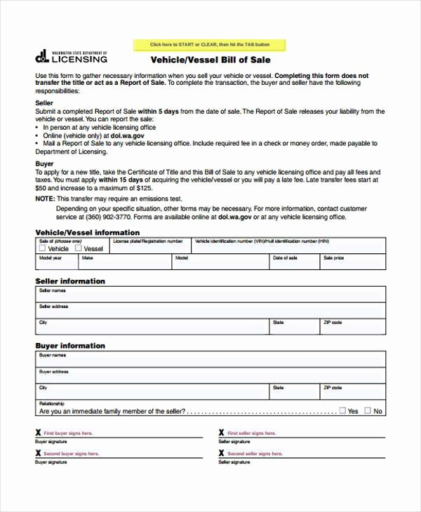 Generic Automotive Bill Of Sale Inspirational 33 Bill Of Sale forms In Pdf
