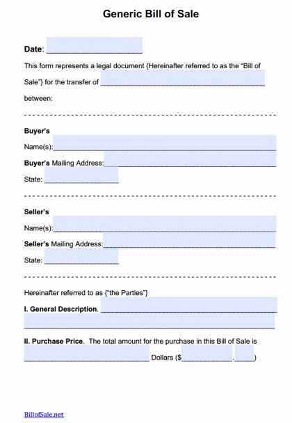 Generic Automotive Bill Of Sale Inspirational Free General Bill Of Sale forms Pdf