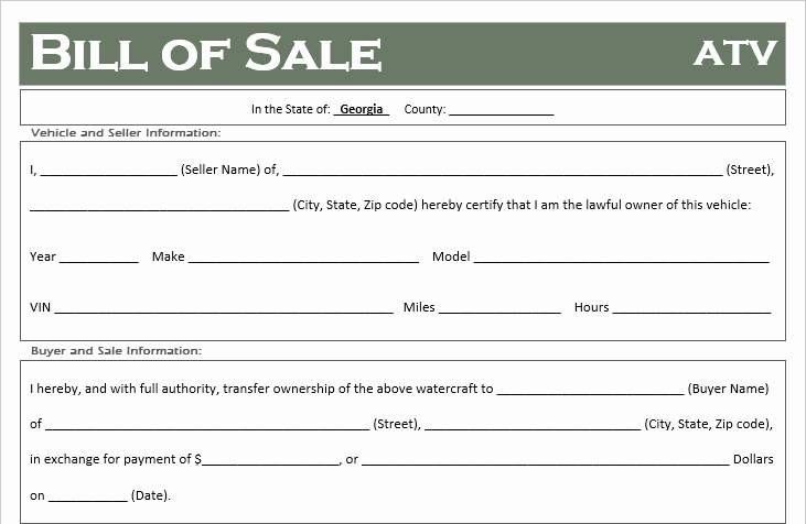 Generic Bill Of Sale Georgia Fresh Free Georgia atv Dirt Bike and Utv Bill Of Sale Template