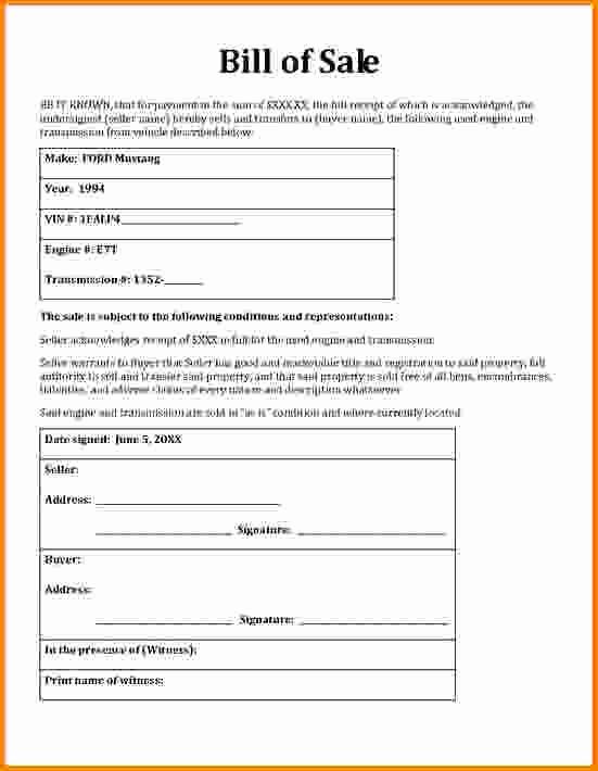 Generic Bill Of Sale Motorcycle Fresh General Bill Sale form