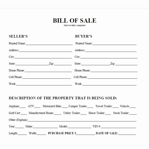 Generic Bill Of Sale Motorcycle Inspirational Best S Of Easy Printable Bill Sale Free