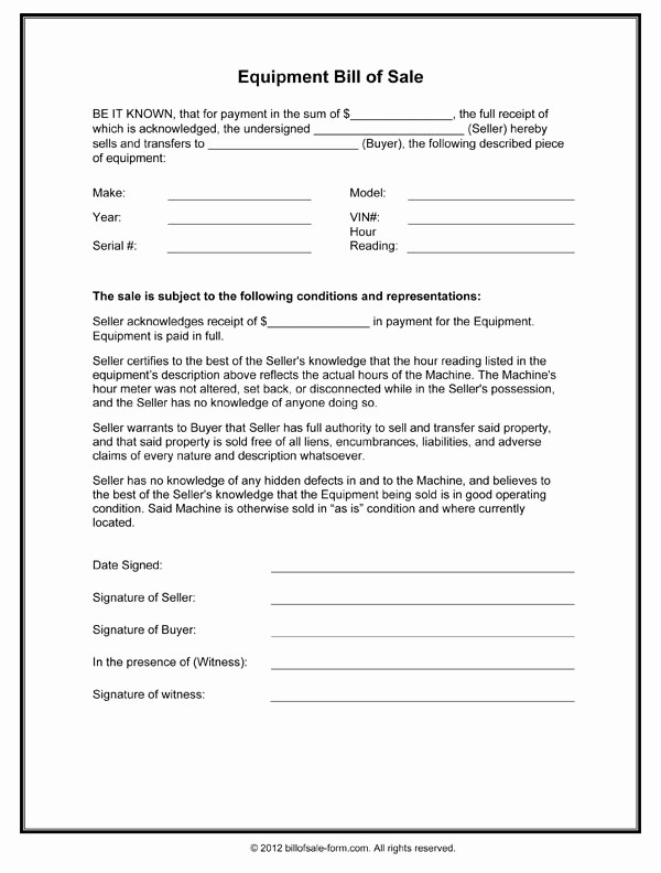 Generic Bill Of Sale Pdf Fresh Bill Sale form Template