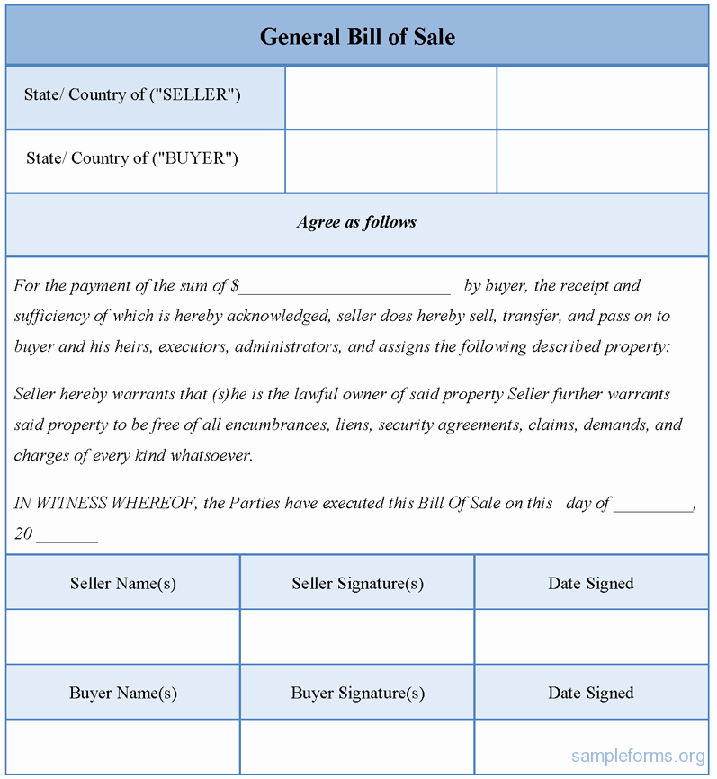 Generic Bill Of Sale Pdf Lovely General Bill Of Sale form Sample forms
