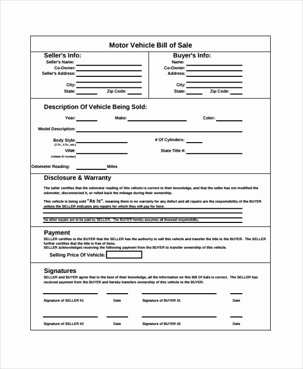 Generic Bill Of Sale Vehicle Awesome 8 Sample Generic Bill Of Sale Templates