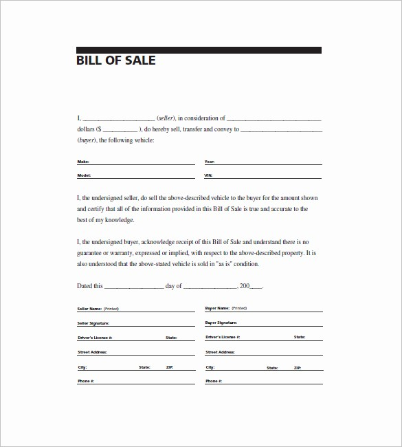 Generic Bill Of Sale Vehicle Awesome General Bill Of Sale – 14 Free Word Excel Pdf format