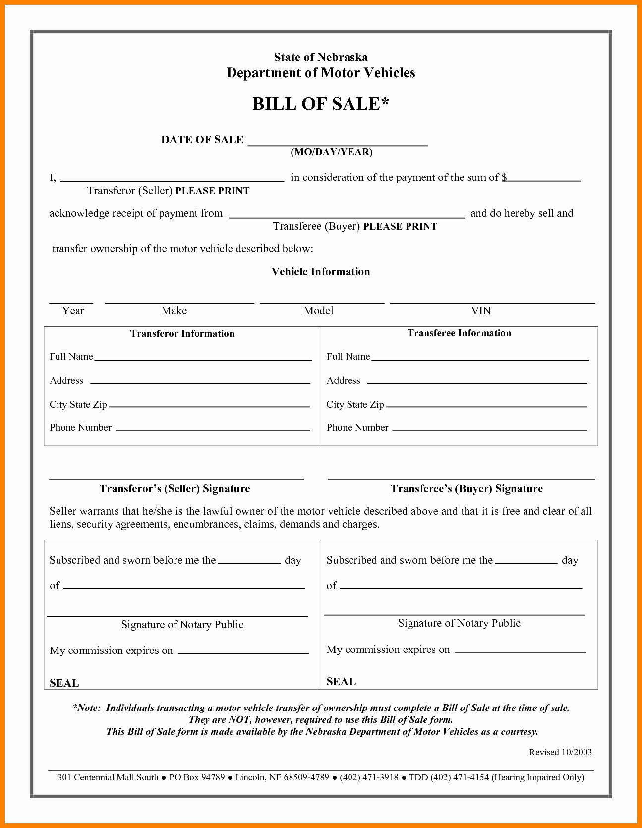Bill Of Sales Generic | Generic Bill Of Sale Vehicle Luxury General Bill Sale Form