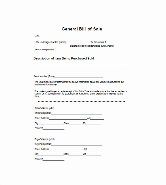 Generic Bill Of Sale Vehicle Lovely General Bill Of Sale – 14 Free Word Excel Pdf format