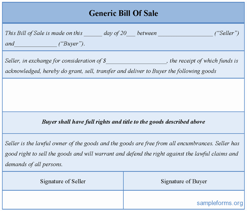 Generic Bill Of Sale Vehicle New Generic Bill Sale form Sample forms