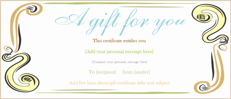 Generic Gift Certificate Template Free Fresh Abstract Border Gift Certificate Template