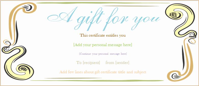 Generic Gift Certificate Template Free Fresh Abstract Border Gift Certificate Template