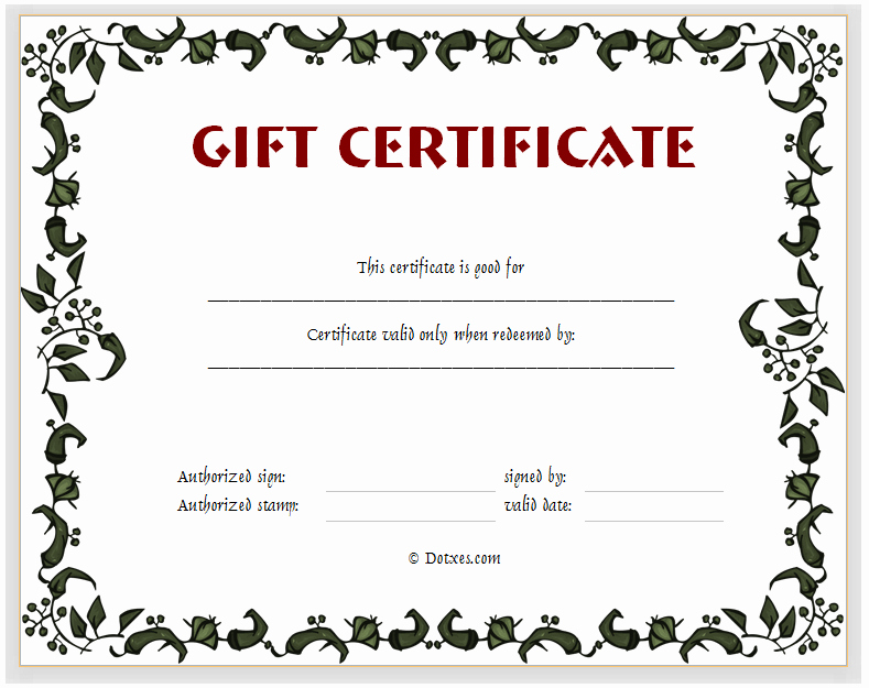 Generic Gift Certificate Template Free Inspirational 15 Fill In the Blank Certificate Templates