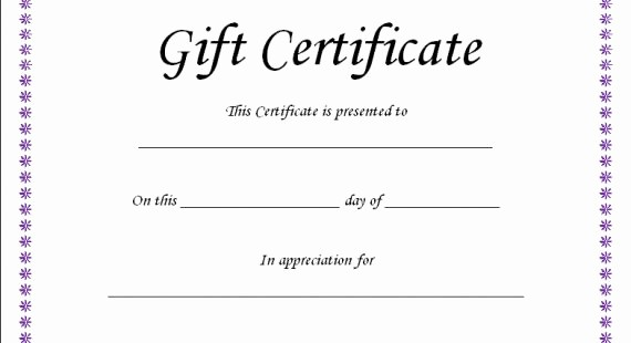 Generic Gift Certificate Template Free Lovely Fillable Gift Certificate Template Free