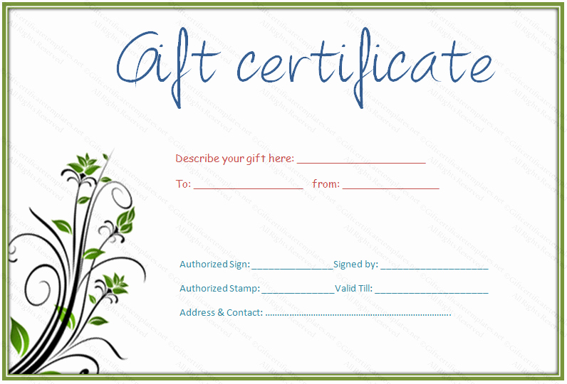 Generic Gift Certificate Template Free New 30 Printable Gift Certificates
