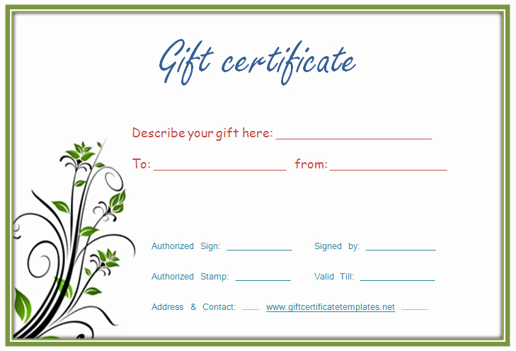 Generic Gift Certificates Print Free Unique Customize Gift Certificate Vouchers