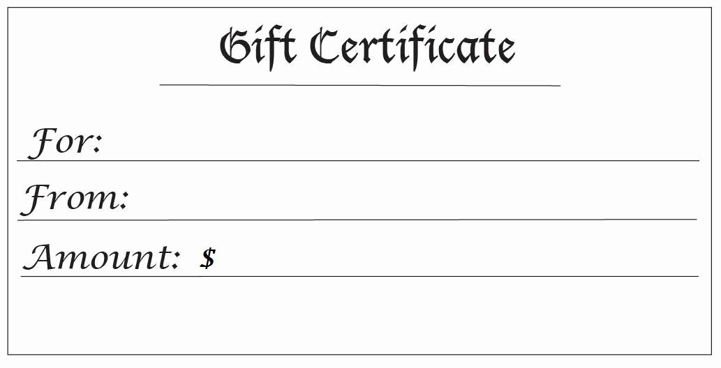 Generic Gift Certificates Print Free Unique Gift Certificates for Any Amount