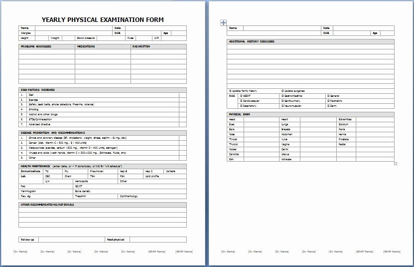 Generic History and Physical form Awesome Yearly Physical Examination form