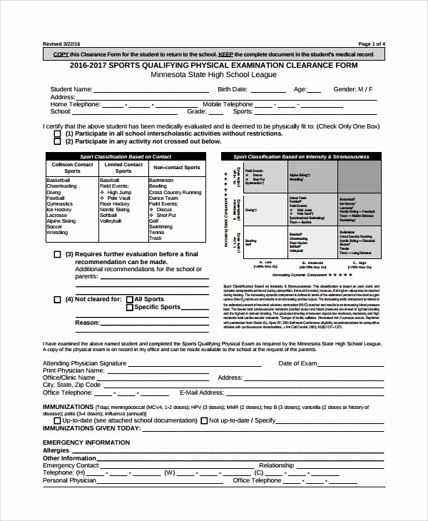 Generic History and Physical form Elegant 9 Sample Physical Exam forms – Pdf