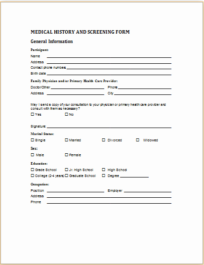 Generic History and Physical form Fresh 20 Medical form Logs Sheets & Templates