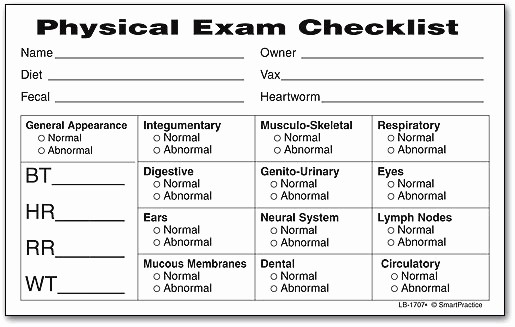Generic History and Physical form Inspirational House Plans Physical Exam Checklist