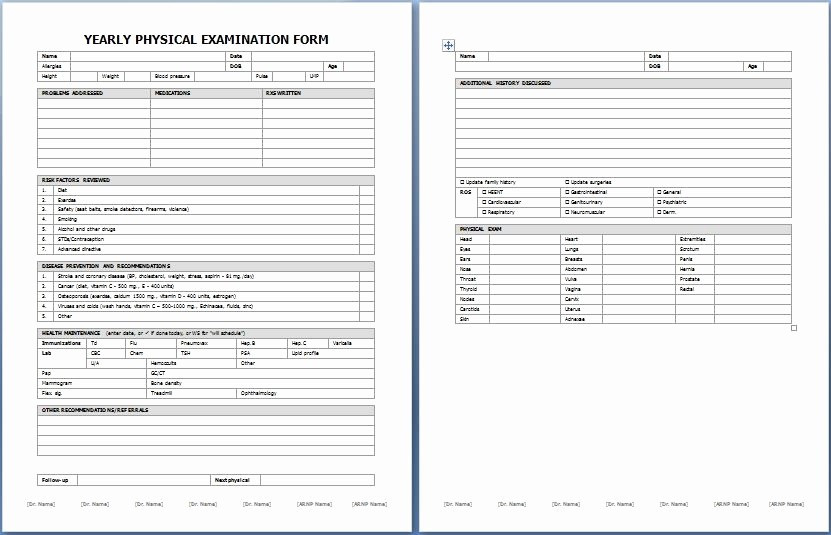 Generic History and Physical form Lovely Physical Exam Template Beepmunk