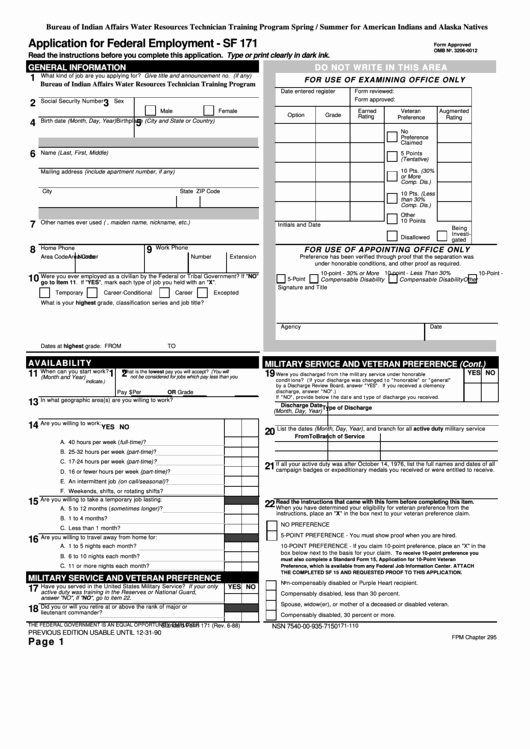 Generic Job Application Fillable Pdf Fresh Fillable Sf 171 form Application for Federal Employment