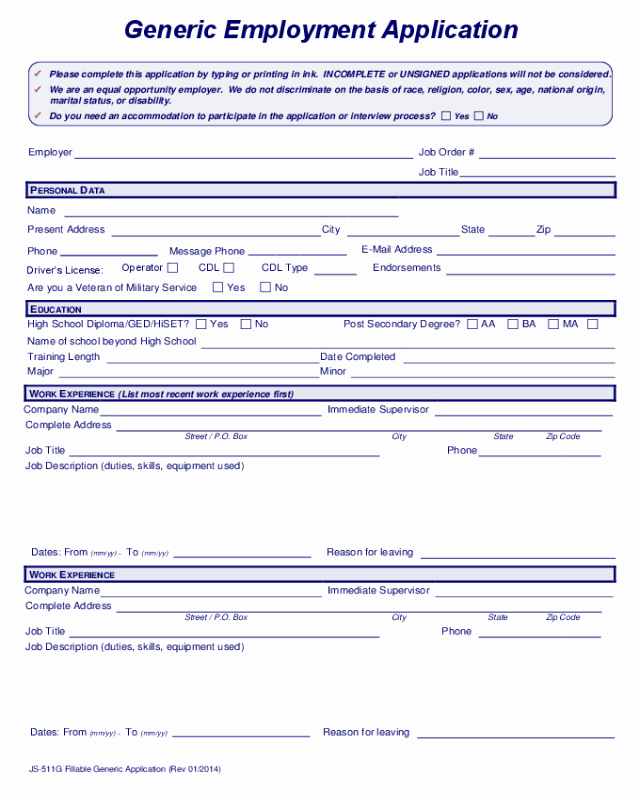 Generic Job Application Fillable Pdf Luxury 2019 Application for Employment form Fillable Printable