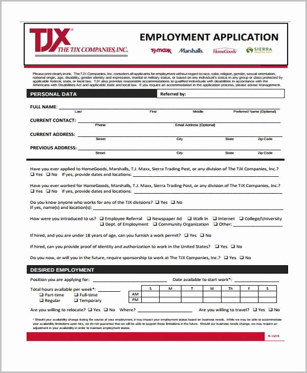 Generic Job Application Fillable Pdf Luxury Employment Application forms