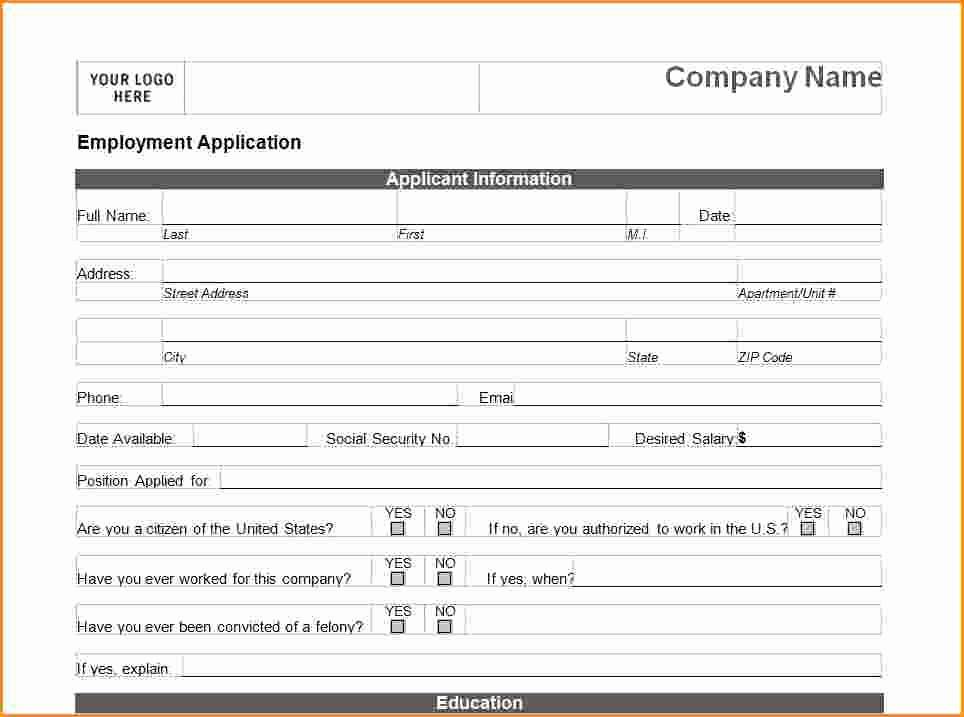 Generic Job Application to Print Beautiful 9 Generic Application Template