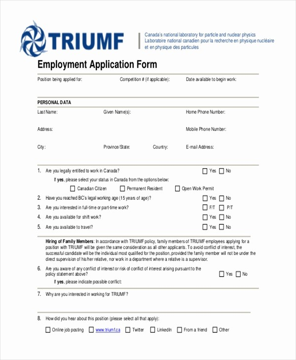 Generic Job Application to Print Best Of Sample Generic Employment Application form 10 Free