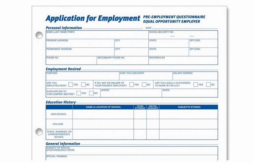 Generic Job Application to Print Elegant Printable Pdf Generic Employment Application form