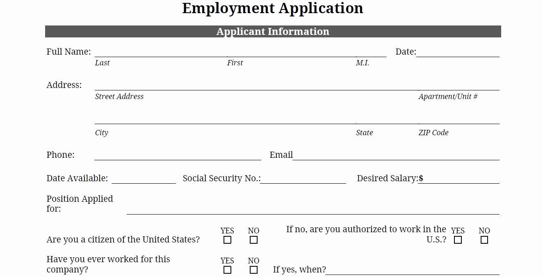 Generic Job Application to Print Fresh Free Generic Job Application Search Results